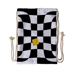 Dropout Yellow Black And White Distorted Check Drawstring Bag (small) by designworld65