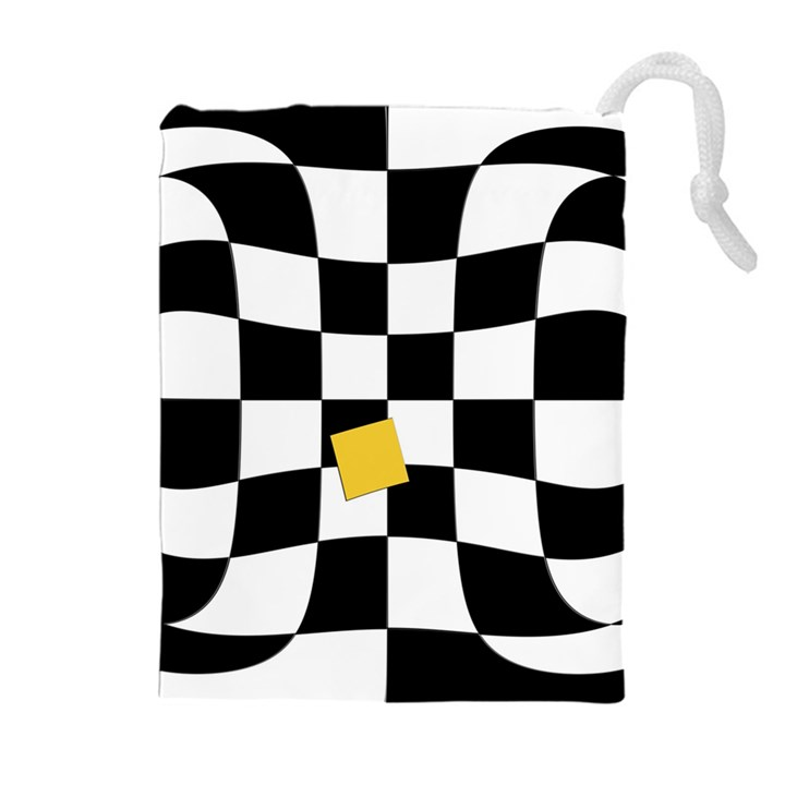 Dropout Yellow Black And White Distorted Check Drawstring Pouches (Extra Large)