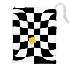 Dropout Yellow Black And White Distorted Check Drawstring Pouches (xxl) by designworld65
