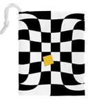 Dropout Yellow Black And White Distorted Check Drawstring Pouches (XXL) Back