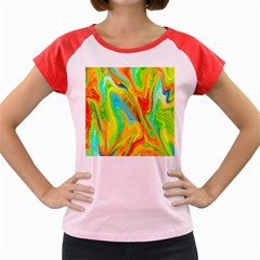 Happy Multicolor Painting Women s Cap Sleeve T Shirt by designworld65