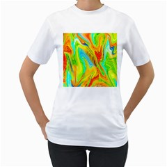 Happy Multicolor Painting Women s T Shirt (white) (two Sided)