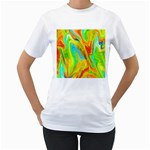 Happy Multicolor Painting Women s T-Shirt (White) (Two Sided)