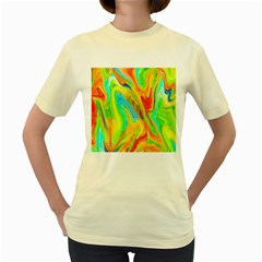 Happy Multicolor Painting Women s Yellow T Shirt by designworld65