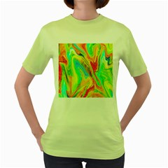 Happy Multicolor Painting Women s Green T Shirt
