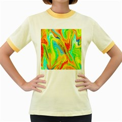 Happy Multicolor Painting Women s Fitted Ringer T Shirts