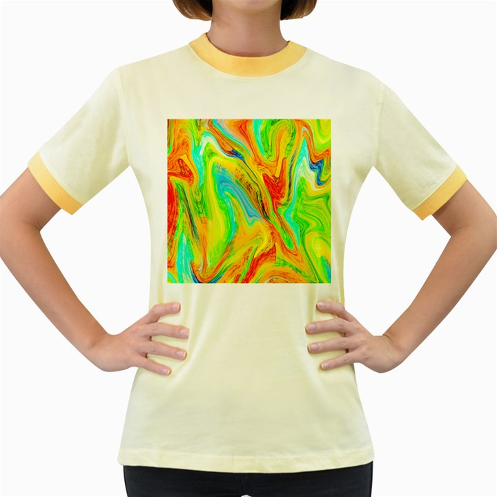 Happy Multicolor Painting Women s Fitted Ringer T-Shirts