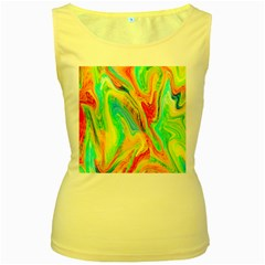 Happy Multicolor Painting Women s Yellow Tank Top by designworld65