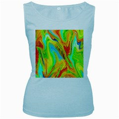 Happy Multicolor Painting Women s Baby Blue Tank Top by designworld65