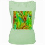 Happy Multicolor Painting Women s Green Tank Top