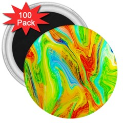 Happy Multicolor Painting 3  Magnets (100 Pack) by designworld65