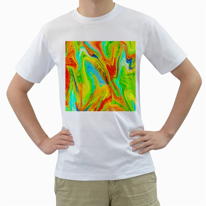 Happy Multicolor Painting Men s T-Shirt (White) (Two Sided)