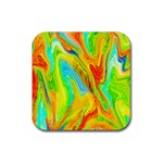 Happy Multicolor Painting Rubber Square Coaster (4 pack)