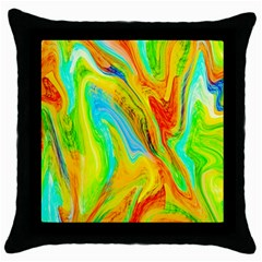 Happy Multicolor Painting Throw Pillow Case (black) by designworld65