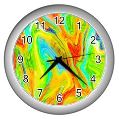 Happy Multicolor Painting Wall Clocks (silver)  by designworld65
