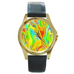 Happy Multicolor Painting Round Gold Metal Watch by designworld65