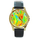 Happy Multicolor Painting Round Gold Metal Watch