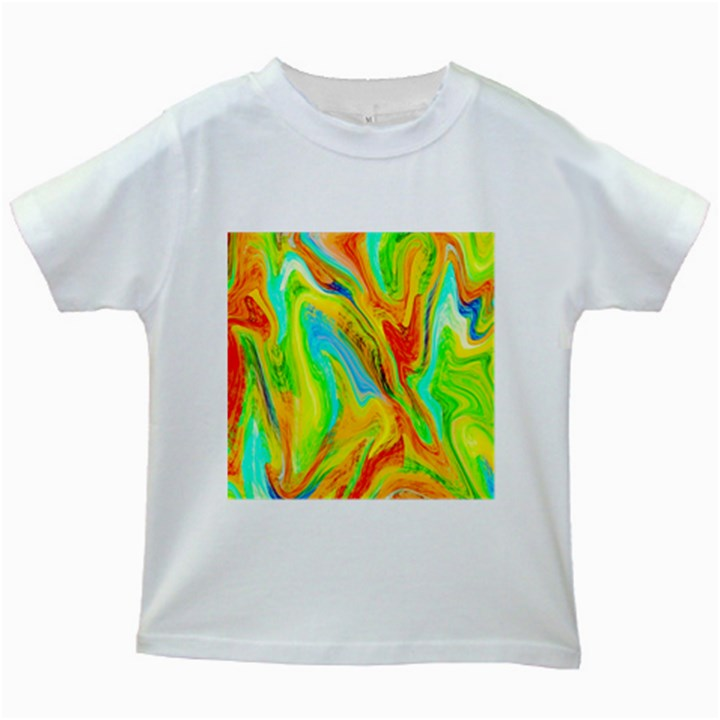 Happy Multicolor Painting Kids White T-Shirts