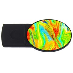 Happy Multicolor Painting Usb Flash Drive Oval (2 Gb)