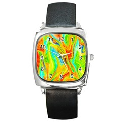 Happy Multicolor Painting Square Metal Watch by designworld65