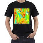 Happy Multicolor Painting Men s T-Shirt (Black) (Two Sided)