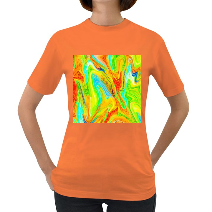 Happy Multicolor Painting Women s Dark T-Shirt