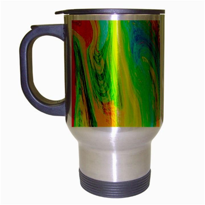 Happy Multicolor Painting Travel Mug (Silver Gray)