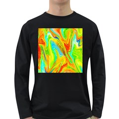 Happy Multicolor Painting Long Sleeve Dark T Shirts by designworld65