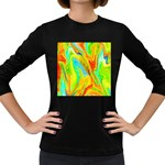 Happy Multicolor Painting Women s Long Sleeve Dark T-Shirts