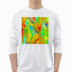 Happy Multicolor Painting White Long Sleeve T Shirts