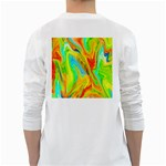 Happy Multicolor Painting White Long Sleeve T-Shirts Back