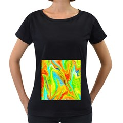 Happy Multicolor Painting Women s Loose Fit T Shirt (black)