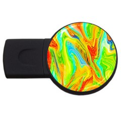 Happy Multicolor Painting Usb Flash Drive Round (4 Gb)  by designworld65