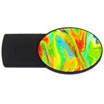Happy Multicolor Painting USB Flash Drive Oval (4 GB)  Front