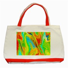 Happy Multicolor Painting Classic Tote Bag (red) by designworld65