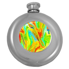 Happy Multicolor Painting Round Hip Flask (5 Oz) by designworld65