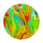 Happy Multicolor Painting Round Ornament (Two Sides)