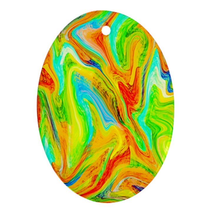 Happy Multicolor Painting Oval Ornament (Two Sides)