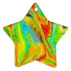 Happy Multicolor Painting Star Ornament (two Sides)  by designworld65