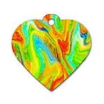 Happy Multicolor Painting Dog Tag Heart (Two Sides) Back