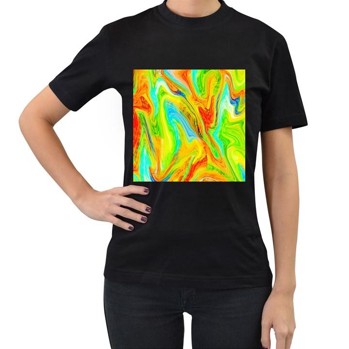 Happy Multicolor Painting Women s T-Shirt (Black)