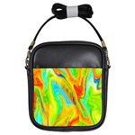 Happy Multicolor Painting Girls Sling Bags Front