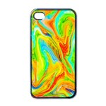 Happy Multicolor Painting Apple iPhone 4 Case (Black)