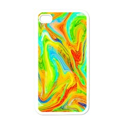 Happy Multicolor Painting Apple Iphone 4 Case (white) by designworld65