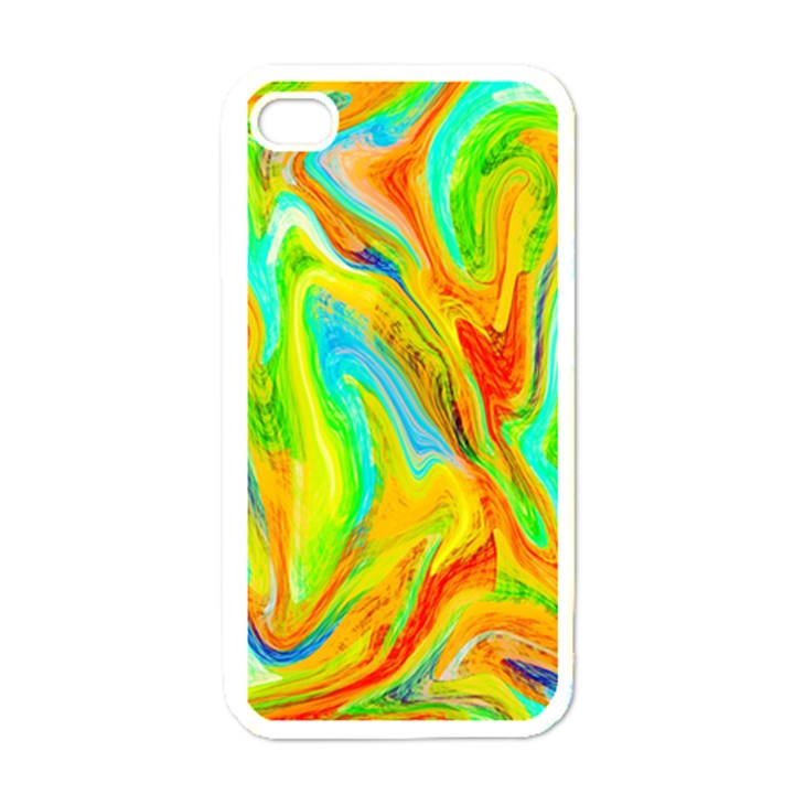 Happy Multicolor Painting Apple iPhone 4 Case (White)