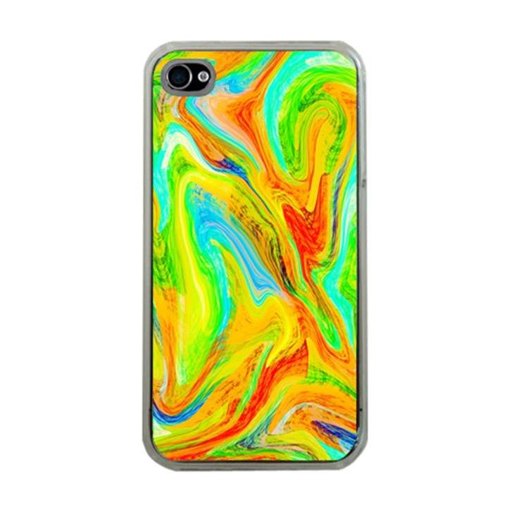 Happy Multicolor Painting Apple iPhone 4 Case (Clear)