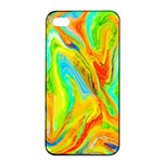 Happy Multicolor Painting Apple iPhone 4/4s Seamless Case (Black)