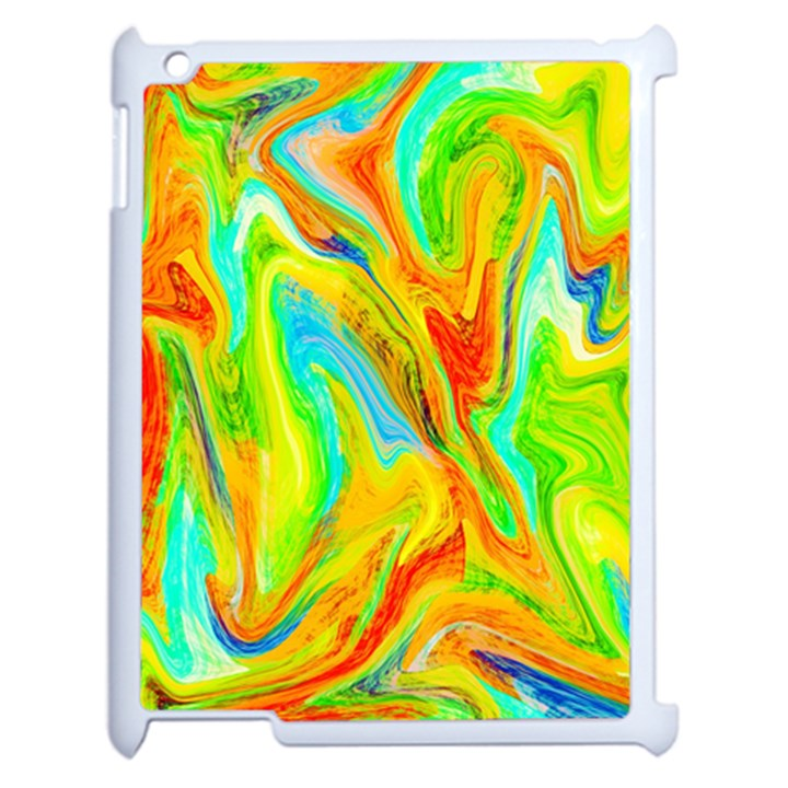 Happy Multicolor Painting Apple iPad 2 Case (White)