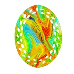 Happy Multicolor Painting Oval Filigree Ornament (2-Side)  Front
