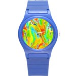 Happy Multicolor Painting Round Plastic Sport Watch (S) Front
